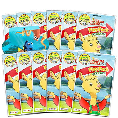 Llama Llama Party Favors Pack ~ Bundle of 12 Llama Llama Play Packs Filled with Stickers, Coloring Books, and Crayons with 300 Bonus Stickers (Llama Llama Party Supplies)