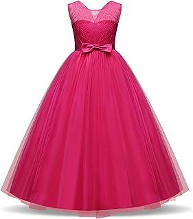 Vestido de la Princesa de Las Muchachas sin Mangas Elegante de Vestidos de Fiesta de la Flor Bordada
