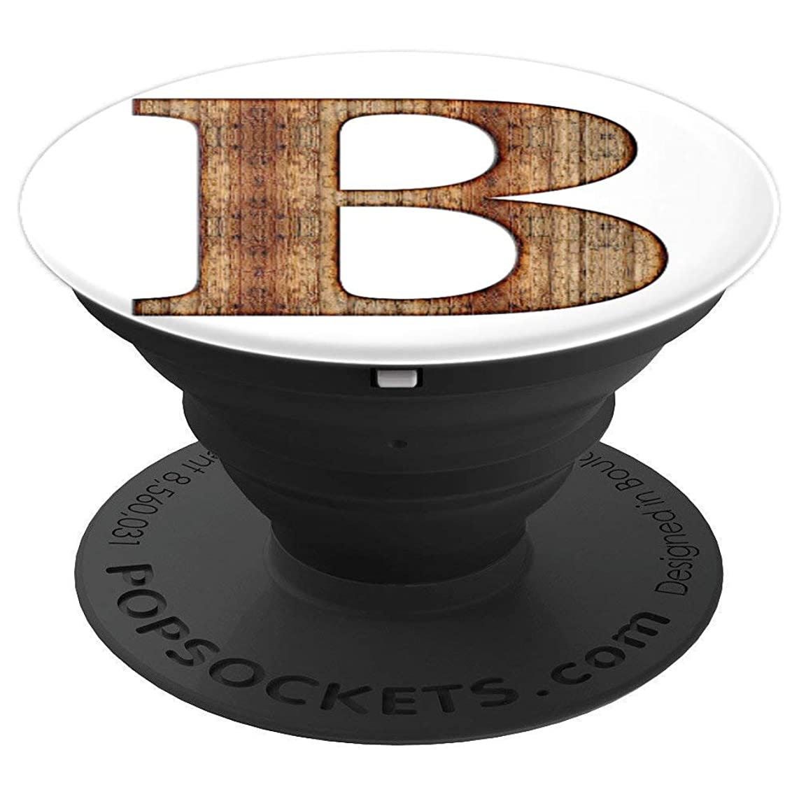 B Brown Nature White Monogram Initial Letter Name Art - PopSockets Grip and Stand for Phones and Tablets