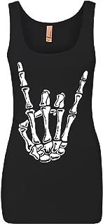 Tee Hunt Skeleton Hand Rock and Roll Women's Tank Top Bones Hardcore Metal Horns Top