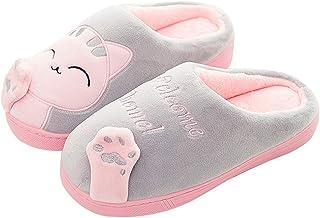 Zapatillas para Mujer Niño Invierno Confort Memoria Espuma Gato Gatito Dibujos Animados Zapatillas de Interior