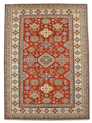 Pak Perzische tapijten Traditionele Afghaanse Handgemaakte Kazak tapijt, Wol, Bordeaux rood, Medium, 212 X 290 cm, 7' x 9' 6
