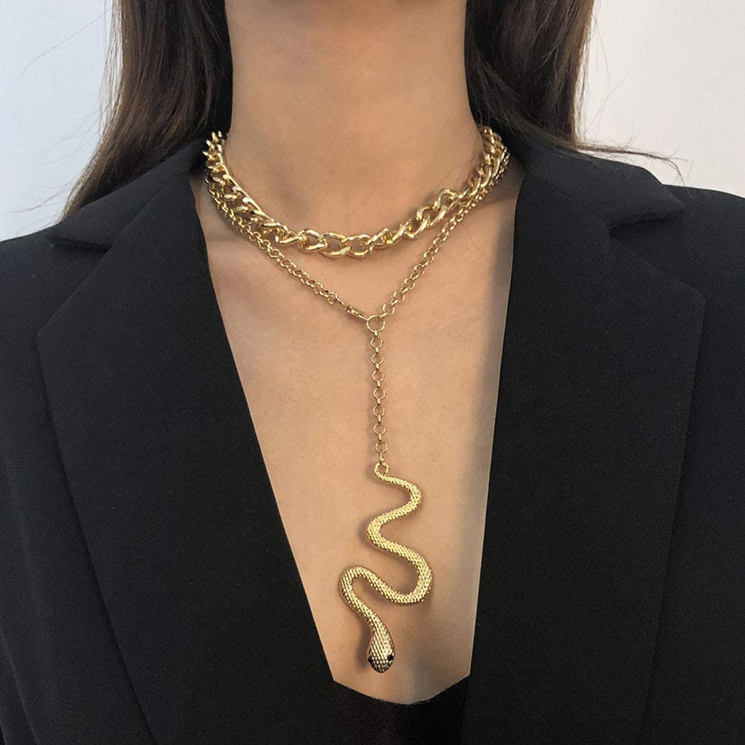 Earent Simple Snake Choker Necklace Gold Long Pendant Necklaces Cuban Link Chain Fashion Jewerly for Women and Girls