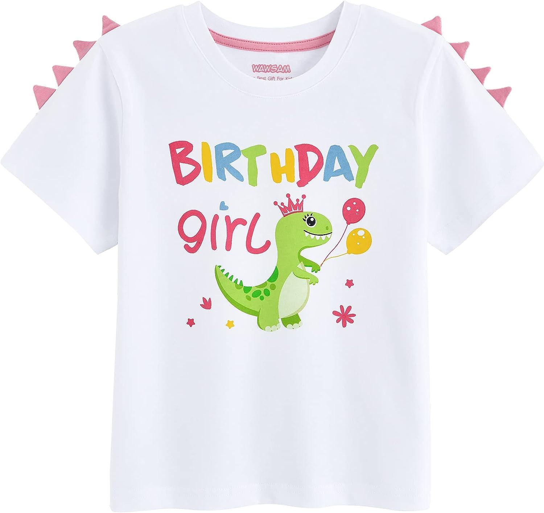 Dinosaur Birthday Girl T-Shirt Dino B-Day Short Sleeve Shirt Gift for Girls