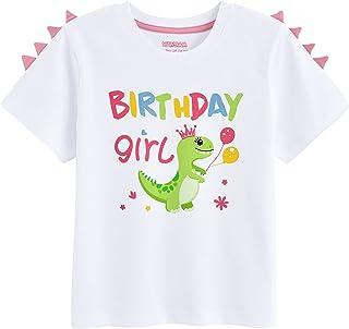 Camiseta de Niña de Cumpleaños Dinosaurio Cumpleaños Niña Manga Corta