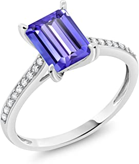 10K White Gold Blue Tanzanite and White Diamond Women's Engagement Ring 2.03 Cttw Emerald Cut (Available 5,6,7,8,9)