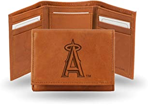 Rico Anaheim Baseball Angels MLB Team Logo Embossed Brown Leather Trifold Wallet