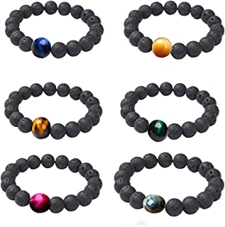 COLORFUL BLING 6Pcs Lava Rock Tiger Eyes Aromatherapy Anxiety Essential Oil Diffuser Bracelet Adjustable Natural Stone Str...