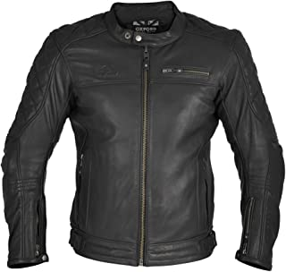 Oxford Men's Route 73 Leather Jacket (Black, XXX-Large)