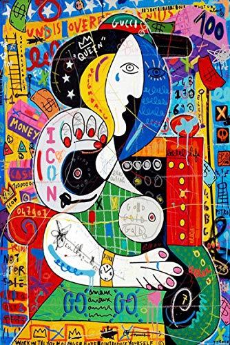 XTTGGD 1000 Piezas Rompecabezas De Madera Cartel De Graffiti Pintura Figura Abstracta Rompecabezas De Pared Niños Juguetes para Adultos Regalos De Cumpleaños