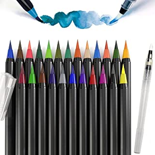 PuTwo Watercolor Brush Pens 20 Colors Calligraphy Pen 100% Non-Toxic Odorless Watercolor Pens for Painting Manga Comic Col...