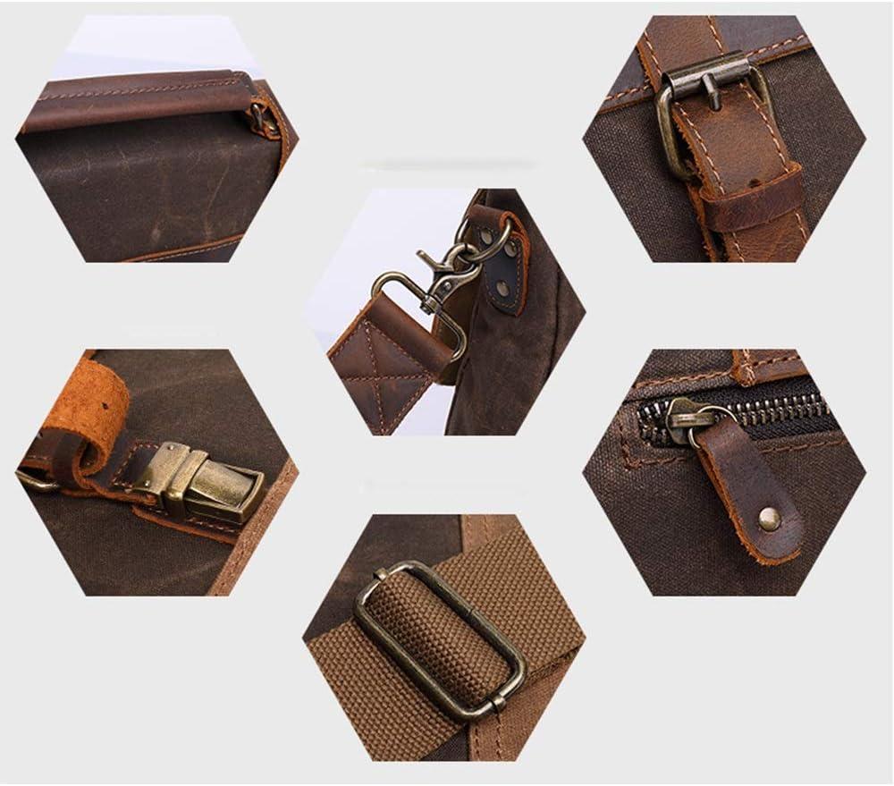 Briefcase Mens Handbag Mens 15.6-inch Oil Wax Canvas Bag Mens Shoulder Bag Retro Mens Bag Messenger Bag 42x35x11cm Business Computer Color : Army Green