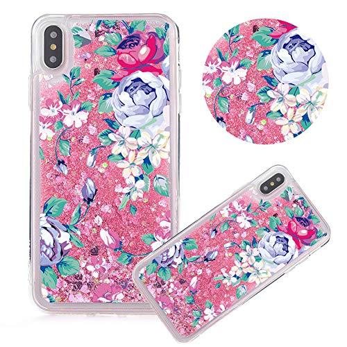 Rosa Glitzer Hülle für iPhone XR,Flüssigkeit Silikon HandyHülle für iPhone XR,Moiky Luxuriös Mode Elegant Blume Muster Liebe Herzen Treibsand Pailletten Diamant Flexible Weich Gummi Hülle