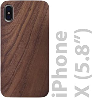 iATO iPhone X Wooden Case - Real Walnut Wood Grain Premium Protective Slim Back Cover. Unique & Classy Snap on Bumper Accessory for iPhone X /10 (2017) | Supports Wireless Charging