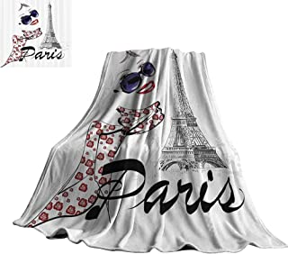 WinfreyDecor Paris Super Soft BlanketsSketchy Image of a Woman Smiling with Scarf and Landmark Eiffel Tower 60