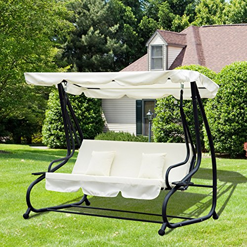 Outsunny Hollywoodschaukel Gartenschaukel 3-Sitzer Liegefunktion Stahl Creme 200x120x164cm - 2