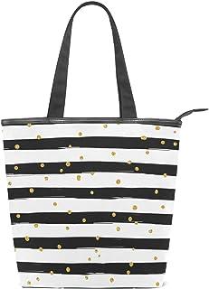 TropicalLife JinDoDo Handtasche mit Reißverschluss aus Segeltuch mit goldenen Punkten und Streifen für Damen zum Einkaufen, Reisen, Strand, Schule