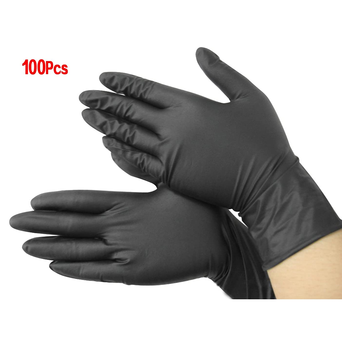 原理息切れクリーナー手袋,SODIAL(R)黒いニトリル使い捨てクール手袋 パワーフリーX100 - 入れ墨 - メカニック 新しい