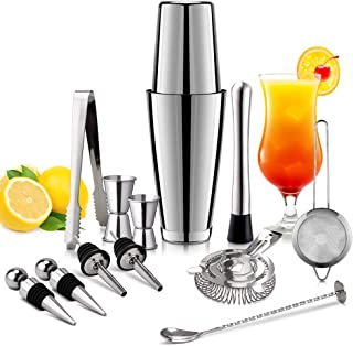 Bartender Kit, Wevove Cocktail Shaker Set - 13 Piece, Stainless Steel, Drink Mixing Set, Bar Kit with Unweighted/Weighted Boston Shaker for Home Bar