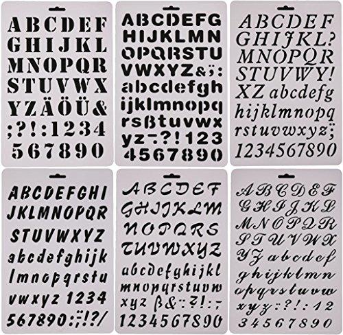 Sookoo 6stencil con lettere dell'alfabeto di diverse dimensioni, ideali per disegno, pittura, biglietti e progetti fai da te
