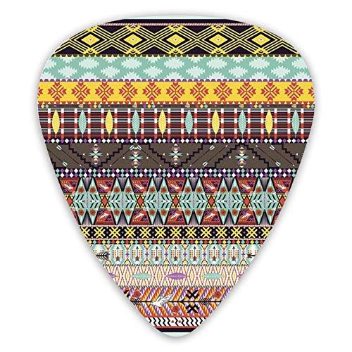 Púas de guitarra Alfombra tribal colorida con pájaros y flechas Muestra de púas premium que incluye un calibre fino medio y pesado, regalo único para guitarras acústicas eléctricas bajas (12 unidades)