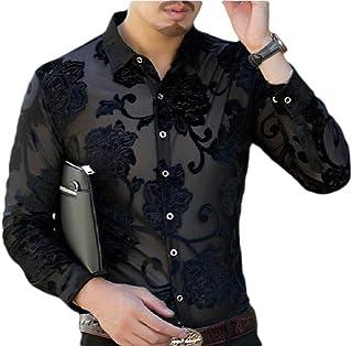 ouxiuli Mens Shirt Hipster Party Plaid Short Sleeve Print Button Down Shirts