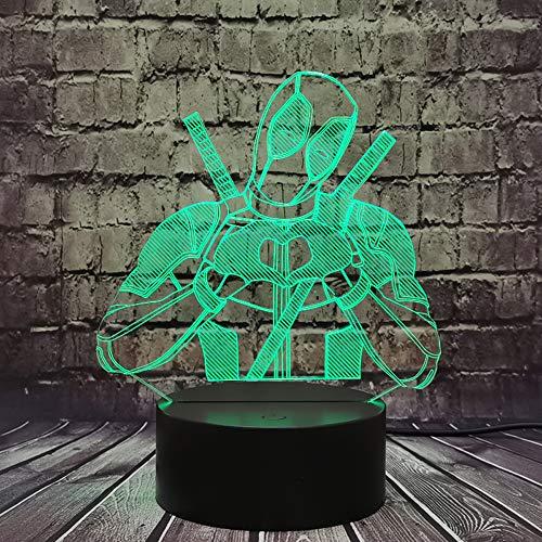 Creativa Marvel Figura héroe Deadpool amor LED 3D ilusión estado de ánimo luz de la noche Marvel leyendas lámpara luminaria decoración habitación niños juguetes