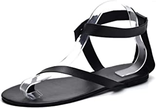 Sandals Leather Flat Heel Beach Shoes Women Thong Shoes Large Size 42 41 40 Rome Style Retro Sandals