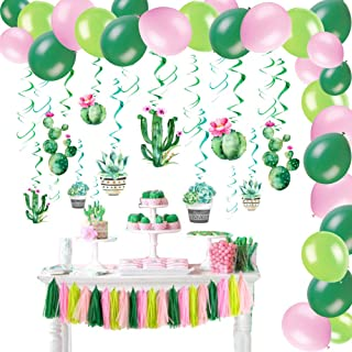 Cactus Party Decorations Set Cactus Hanging Ceiling Swirls Paper Tassel Garland Summer Fiesta Party Kids Birthday Party Supplies SUNBEAUTY