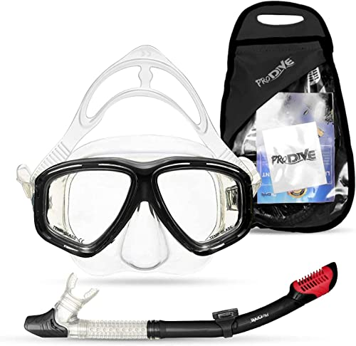 2021 PRODIVE Premium Dry Top Snorkel Set - popular Impact Resistant lowest Tempered Glass Diving Mask,Watertight and Anti-Fog Lens for Best Vision, Easy Adjustable Strap, Waterproof Gear Bag Included outlet online sale