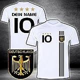 DE-Fanshop Deutschland Trikot mit GRATIS Wunschname Nummer Wappen Typ #D 2017 im EM/WM Weiss - Geschenke für Kinder,Jungen,Baby. Fußball T-Shirt personalisiert
