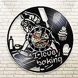 WERWN Me Encanta Hornear Reloj de Pared decoración Reloj de Cocina Arte decoración de Cocina decoración Retro Regalo