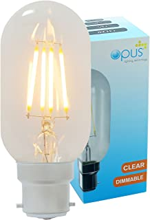 Vintage Filament Tubular Opus Classic LED 5W Clear Light Bulb Very Warm White Dimmable T45 Bc B22 Lamp