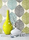 NEWROOM carta da parati floreale grigio,turchese,verdi flori natura grafico carta grigio,t...
