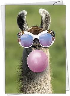 Balloon Animals Llama - Cute Birthday Card with Envelope (4.63 x 6.75 Inch) - Funny Farm Animal Bday Appreciation Stationery - Gratitude Greeting Note Card for Kids, Adults C6837GBDG