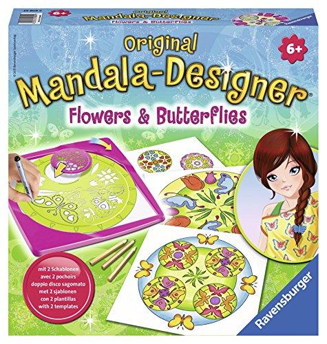 Ravensburger 29809 - Flowers and Butterflies, 2 in 1 - Mandala Designer Midi