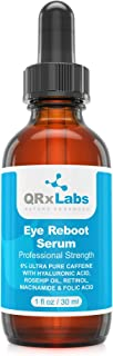 Eye Reboot Serum with 6% Caffeine, Hyaluronic Acid, Rosehip Oil, Retinol, Niacinamide & Folic Acid - Reduces Puffiness, Dark Circles, Crow Feet, Wrinkles and Fine Lines Around the Eyes - 1 oz / 30 ml