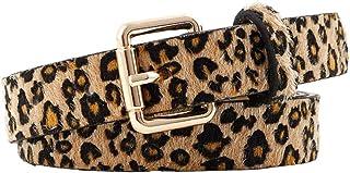 TENDYCOCO Belt Leopard PU leather Belt Women Dress Belts for Women Ladies Girl - Light Brown