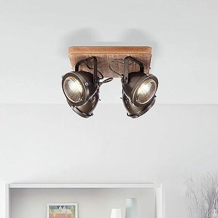 Plafonnier rustique, 4 ampoules, GU10 max. 5 W Couleur acier brûlé/marron