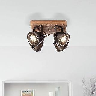 Lámpara de techo rústica con 4 focos, GU10, máx. 5 W, de metal y madera quemada, color marrón