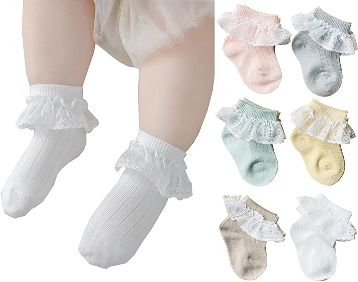 QandSweet Newborn Girls' Lace Socks Baby Ankle Sock for Infant and Toddlers