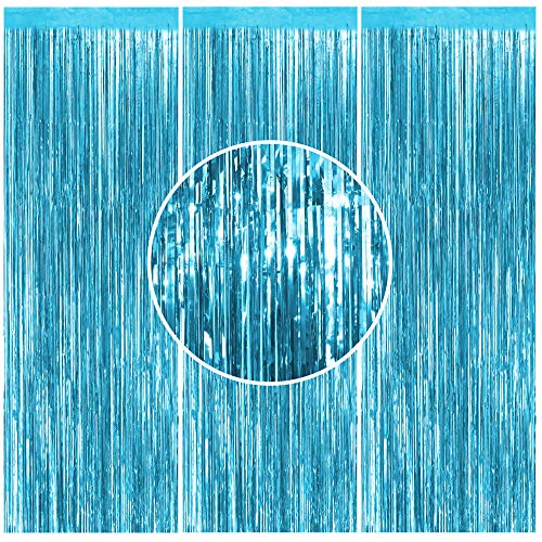 3PCS Foil Curtain Light Blue Metallic Tinsel Foil Fringe Curtains- 3.2 ft x 8.2 ft Light Blue Metallic Fringe for Baby Shower Party Decorations, Frozen Birthday Decor