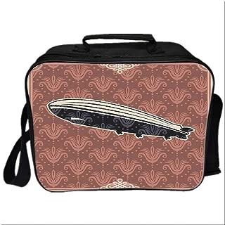 Retro Poster Picnic Bag Cooler Bag,Vintage Damask Motif Featured Backdrop with Zeppelin Modern Mix Art Graphic for Kids Boys Girls,10.6″Lx4.7″Wx8.2″H