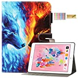 iPad 9.7 2018/2017 Case, iPad Air 2, iPad Air Case, Dteck PU Leather Folio Stand Case with Auto Wake/Sleep Smart iPad Wallet Protective Case for Apple ipad 6th 5th Gen, iPad Air 2/Air 1,Ice Fire Wolf