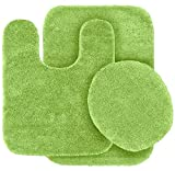 Elegant Homes 3 Piece Bathroom Rug Set Bath Rug, Contour Mat, Lid Cover Non-Slip with Rubber Backing Solid Color # Angela (Lime/Sage Green)