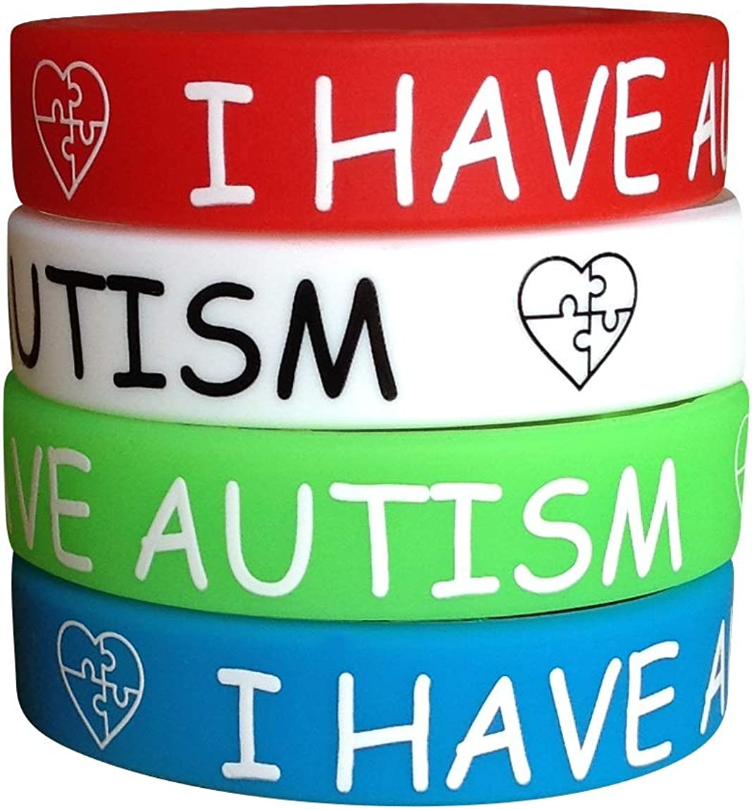 I Have Autism Silicone Bracelets for Teens Kids Child (4 Pack) ID Wristband Medical Alert