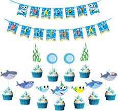 BUSOHA Shark Family Party Decorations/Cute Baby Little Shark Happy Birthday Banner with Cupcake Toppers, Kids Birthday Shark Theme/Under the Sea/Blue Ocean/Baby Shower Party Supplies (26pcs)