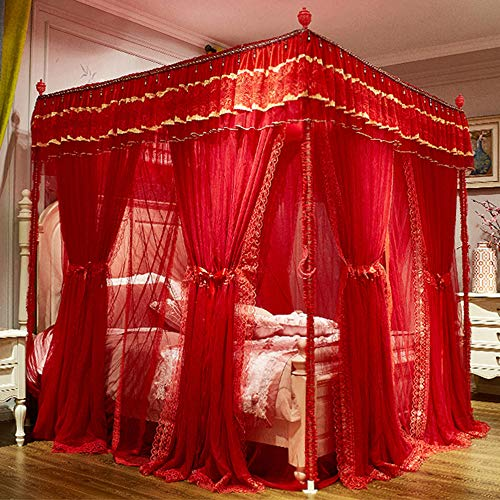 GE&YOBBY Red Bed Canopy,4 Corners Post Bed Curtain Princess Lace Luxury Mosquito Netting Double Layer Mesh Mosquito Net for Bed Decoration-red 180x220cm(71x87inch)
