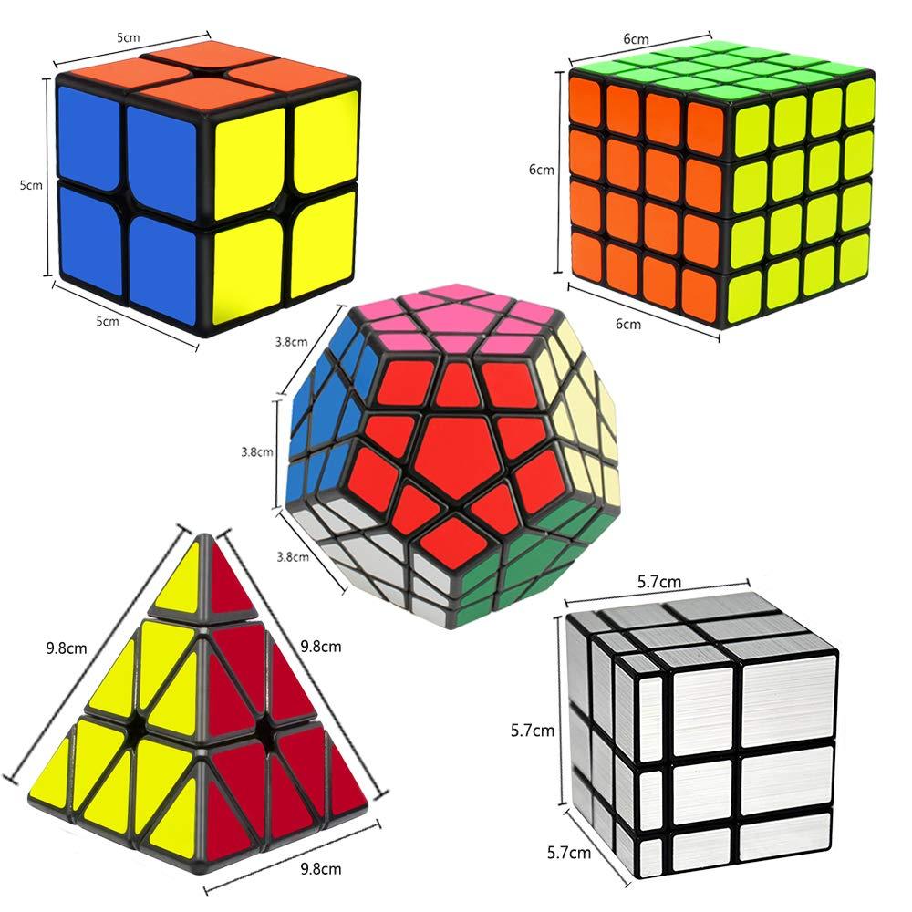 EASEHOME Speed Magic Puzzle Cube Megaminx + Pyraminx + Espejo + 2x2x2 + 4x4x4 in Giftbox, 5 Pack Rompecabezas Cubo Mágico PVC Pegatina para Niños y Adultos, Negro: Amazon.es: Juguetes y juegos