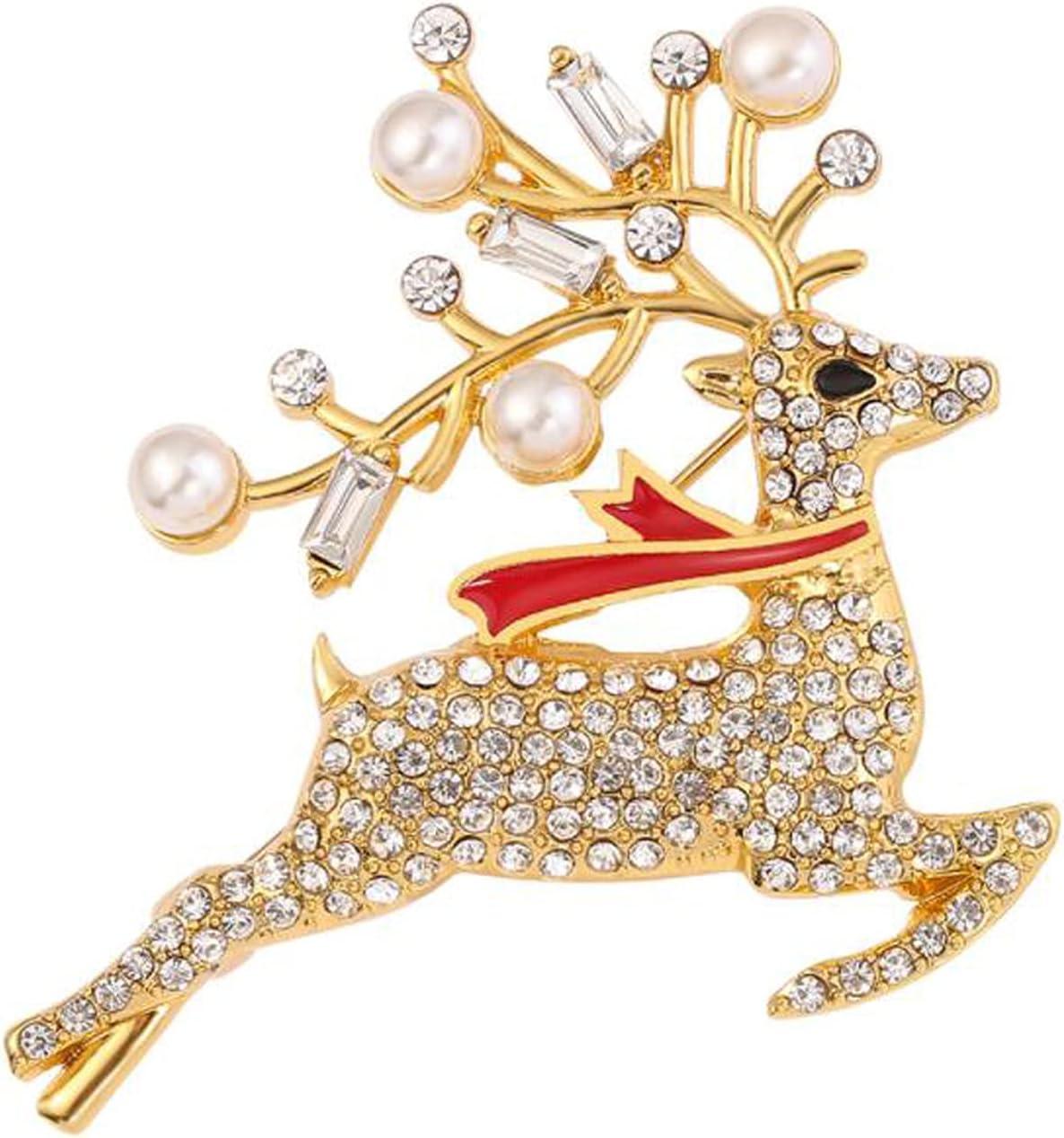 Cngstar Rhinestone Christmas Elk Brooch Pin Xmas Party Favor Gift for Women Girls,Gold